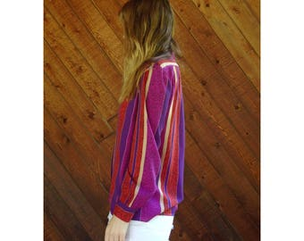 70s Pink Stripe Printed Secretary Blouse - Vintage - SMALL