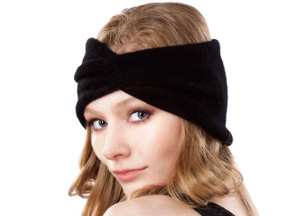 Knit Cashmere Ear Warmer Women's Turban Headband Black Headband Boho Headband Wide Headband Soft Warm Headband Handmade Fall Accessory