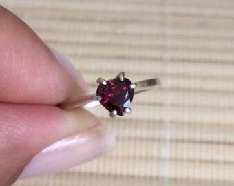 Rhodolite Garnet Ring Sterling Silver Heart January Birthstone Made To Order