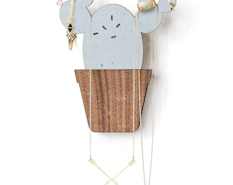 Hanging Cactus Jewelry Organizer, Jewelry Holder, Jewelry Hanger, Wooden Home Decor, Jewelry Display