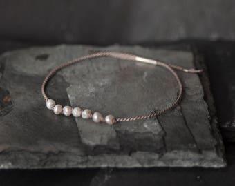 Silk Pearl Bracelet / Minimal Bracelet / Friendship Bracelet / Love Bracelet II