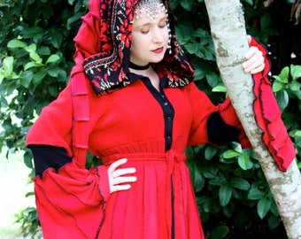 Ready to Ship- The Merovingian- Upcycled Sweater Coat with a Medieval Liripipe Hood by SnugglePants- Red and Black