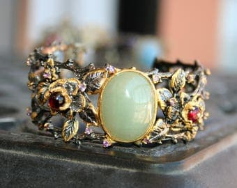 HEAVY 925 Sterling Silver ,14 K gold nature style with vines natural Big opal  stone with garnet stones - so Elegant