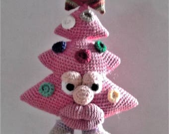 Bonnie's Crochet Cotton Thread Item Miss Lips  Pink Christmas Tree Doll  Topped With 5 Point Star/Not A Toy
