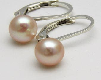 Pink Freshwater Pearl lever back earrings