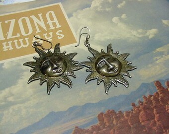 "Vintage Sun Sunface 925 Silver dangle Earrings 17.7 grams 2"" long 4i573"