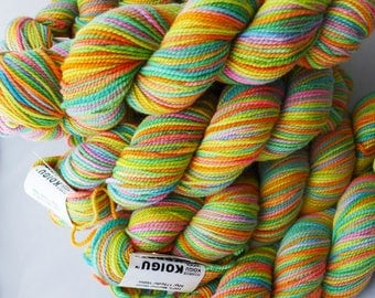 Koigu Painter's Palette Premium Merino KPPPM - P150 - Yellow Orange Green Pink Rainbow Fingering Merino Sock Yarn