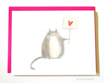 Love Not Hate Cat Cards - Set of 4 - Protest Art