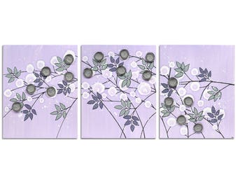 Lilac Purple and Gray Nursery Wall Art Large Mixed Media Flowers on Canvas Triptych Painting in Lilac - 50x20