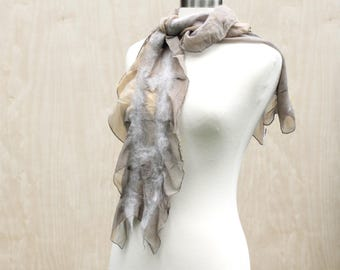 Natural Dyed Handmade Nuno Felt Fashion Scarf Oak Leaf Acorn Dye Soft Wool Silk Womens Fashion Scarves Felted Wearable Art - READY TO SHIP