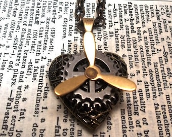 Steampunk Filigree Heart Locket with Brass Propeller and Silver Stacked Gears