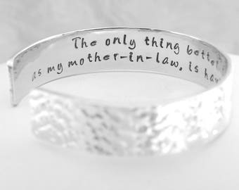 Mother of the Groom Gift, Mother of the Bride Gift,  Mother in law gift, Personalized Aluminum Bracelet. Perfect Thank You Gift