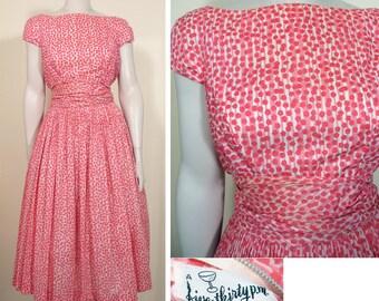 1950s Vintage Pink and Watermelon Print Cotton Party Dress SZ S