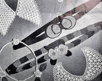Vintage Crochet Pattern 40s 1940s Salvage Your Scraps of Coats' Mercer Crochet - women's accessories belts collars necklace floral spray WW2
