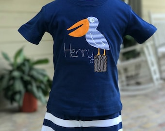 Henry The Pelican - Raggedy Applique Shirt