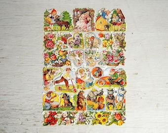 EAS German Die Cut Paper Scrap | Hearts | Nursery Rhyme | Floral Bouquets | Animals Instruments | Embossed Diecut Scrap | EAS 3014