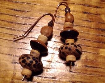 Handmade one of a kind unique copper earthy boho drop earrings