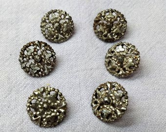 Cut Steel Buttons Set of 6 Antique Fasteners, Closures for Clothing, Craft, Art #B1210