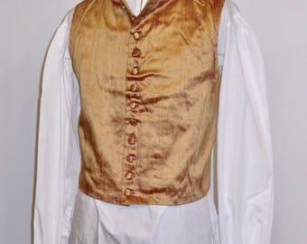 "Readymade Regency Waistcoat, Turned Down Lapel, Rust Dupioni Silk, 42"" Chest"