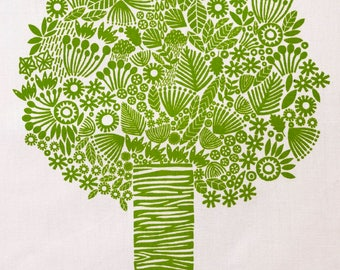Tree Tea Towel, screen printed 100% cotton tea towel, green tree