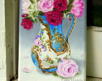 CUSTOM A Pitcher of Joy... Bright Floral in French Sevres 5x7 Original Painting in OIL by LARA Still Life