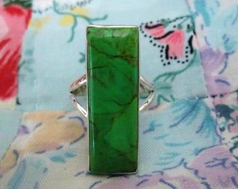 RING - AUSTRALIAN GASPEITE - Elongated   - Sterling Silver  - 925  - size 8 3/4 Green191