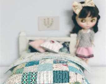 Blythe Bedding - quilt, pillows, embroidery, bed skirt, mattress - doll bedding - Turquoise Dream Patchwork Set