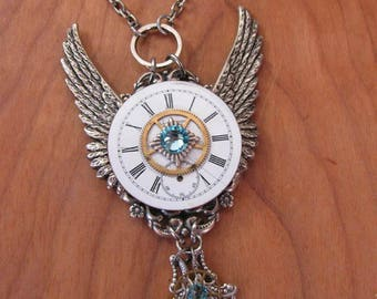 Steampunk Jewelry - Blue Bird - Winged Necklace - Upcycled Vintage Watch Movement Winged Pendant with Brass Watch Gears, Aqua Swarovskis