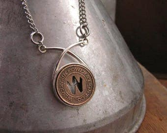 Coin Jewelry - Coin Necklace - Transit Token Jewelry - Token Necklace - Initial W - Wisconsin Power & Light Bronze Festoon Pendant Necklace