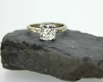 cushion cut moissanite engagement ring . 14k white gold antique style engagement ring . made to order by peaces of indigo