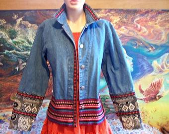 Denim Jacket, Guatemalan, Boho, Blue, Jeans Jacket, size M /L