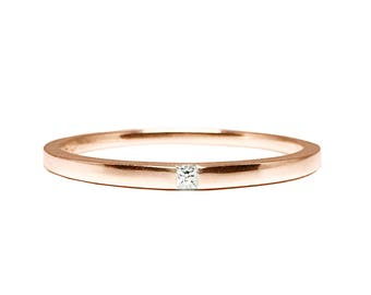 Rose Gold Princess Cut Diamond Anniversary Ring _Simply Adore You