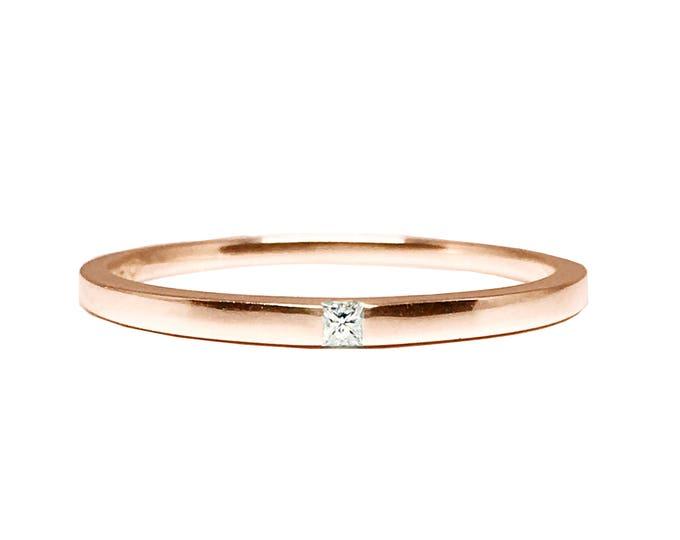 Rose Gold Princess Cut Diamond Anniversary Ring _Simply Adore You