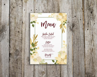 Ivory and Gold Floral Wedding Menu, Reception, Dinner Menus