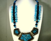 Turquoise & Black Tribal Necklace, Silver Metal Bib w Turquoise Ceramic Inlay, Dot Zigzag Beads, Earrings Too
