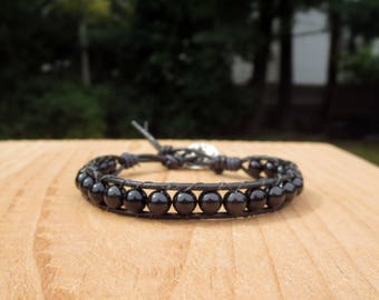 Black Beaded Bracelet for Women, Swarovski Pearl Accessories, Everyday Wrap Around Trendy Chic Contemporary Modern Stylish Leather for Her