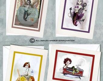 Notecards Set - Mermaid Notecards - Greeting Cards - Mermaid Cards - 'Mermaid Madness'