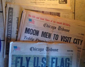 Four July and August 1969 Chicago Newspapers Featuring Moon Landing