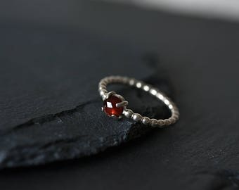 January birthstone ring - Garnet ring  - Second anniversary ring - Gift for her  - Sterling silver ring - Red stone ring