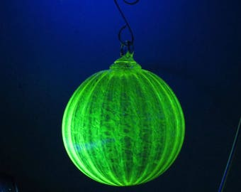 """Special Edition 2017 """"Uranium,"""" Yellow Uranium Glass Ornament Glows in Black Light, Signed & Numbered, Vaseline Glass by Avalon Glassworks"""