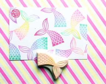 mermaid fin stamp. hand carved rubber stamp. fairytale birthday crafts. diy gift wraps. girl's stationery. handmade stamps by talktothesun
