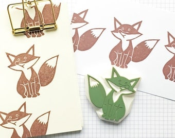 fox rubber stamp | woodland stamp | diy birthday baby shower christmas card making | animal stationery | hand carved stamp by talktothesun