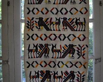 Tree of Life Wall Art/Vintage Ethnic Folk Art/Woven Wall Hanging/Aztec Geometric Tree And Birds
