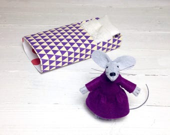 Felt miniature plush mouse doll tiny felt animal in matchbox gift for children stuffed felt doll nursery decor amethyst pre teen kids gifts