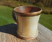 Shino mug, coffee mug, wood-fired, split-fire pottery, tea cup, stoneware, earth tones, coffee cup