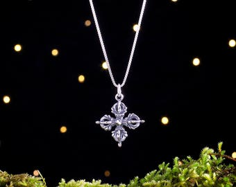 Sterling Silver Tibetan Dorje - 3D Double Sided - (Pendant or Necklace)