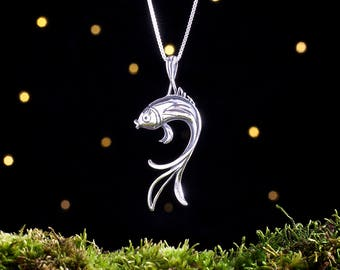 Sterling Silver Butterfly Koi Fish - (Pendant or Necklace)