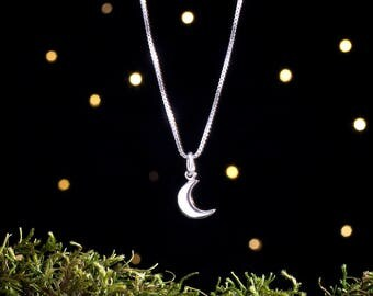 Sterling Silver Crescent Moon - Simple Everyday Jewelry - Small, Minimalist - (Charm, Necklace, or Earrings)