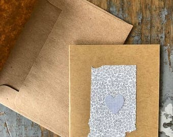 Indiana Love Recycled Envelope Card State Heart Blank Inside