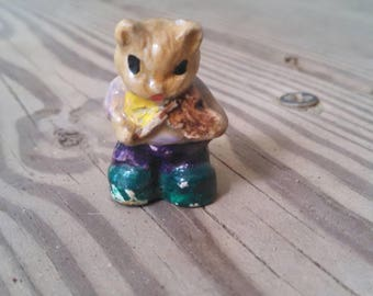 Miniature Cat - fairy folk ceramic cat china cat vintage cat figurine miniature ornaments tiny cat and the fiddle 1960's kitsch collectable
